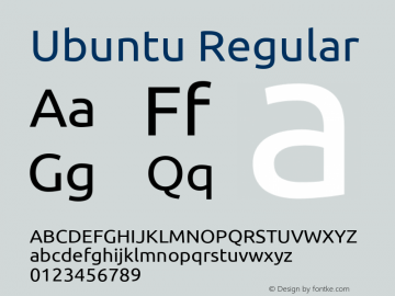 Ubuntu Regular Version 0.80; ttfautohint (v1.4.1) Font Sample
