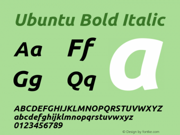 Ubuntu Bold Italic Version 0.80; ttfautohint (v1.4.1) Font Sample