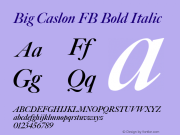 Big Caslon FB Bold Italic Version 1.00 November 3, 2015, initial release Font Sample