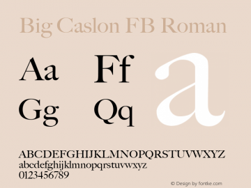 Big Caslon FB Roman Version 1.00 November 3, 2015, initial release Font Sample