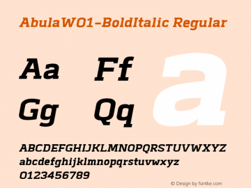 AbulaW01-BoldItalic Regular Version 1.00图片样张