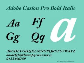 Adobe Caslon Pro Bold Italic OTF 1.009;PS 001.000;Core 1.0.27;makeotf.lib1.3.1 Font Sample