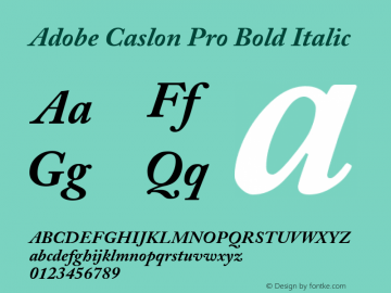 Adobe Caslon Pro Bold Italic OTF 1.009;PS 001.000;Core 1.0.27;makeotf.lib1.3.1 Font Sample