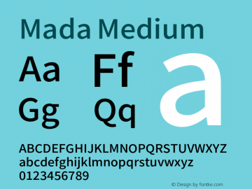 Mada Medium Version 0.2 Font Sample