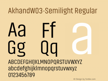 AkhandW03-Semilight Regular Version 1.10 Font Sample