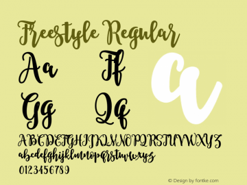 Freestyle Regular Version 1.000;PS 001.001;hotconv 1.0.56 Font Sample