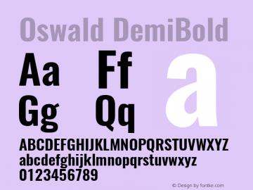 Oswald DemiBold 3.0; ttfautohint (v1.4.1) Font Sample