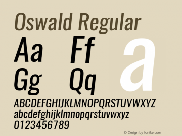 Oswald Regular 3.0; ttfautohint (v1.4.1) Font Sample