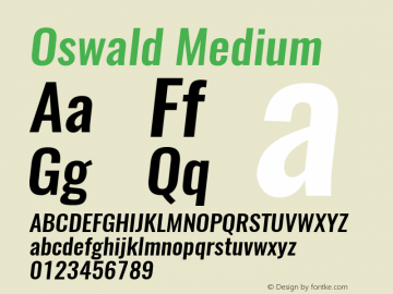 Oswald Medium 3.0; ttfautohint (v1.4.1) Font Sample