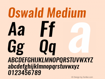 Oswald Medium 3.0; ttfautohint (v1.4.1) Font Sample