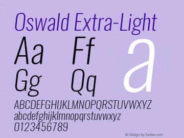 Oswald Extra-Light 3.0; ttfautohint (v1.4.1) Font Sample