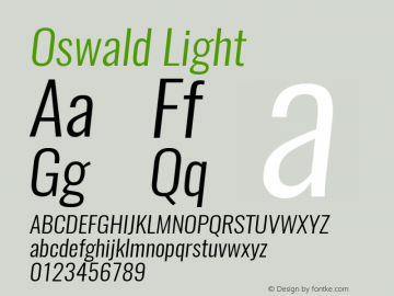 Oswald Light 3.0; ttfautohint (v1.4.1) Font Sample