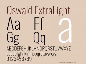 Oswald ExtraLight 3.0; ttfautohint (v1.4.1) Font Sample