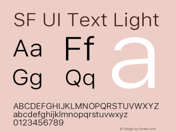 SF UI Text Light 11.0d45e1--BETA Font Sample