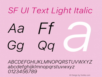 SF UI Text Light Italic 11.0d45e1--BETA Font Sample