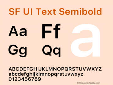 SF UI Text Semibold 11.0d45e1--BETA Font Sample