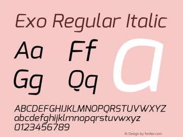 Exo Regular Italic Version 1.00 Font Sample