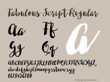 Fabulous Script Regular Version 001.001 Font Sample