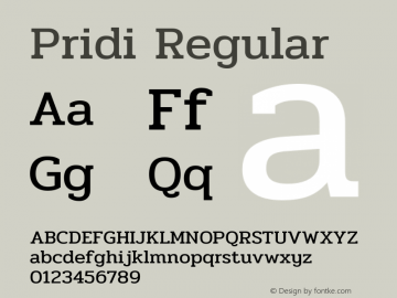 Pridi Regular Version 1.000 Font Sample