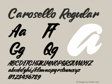 Carosello Regular Version 1.000;PS 001.000;hotconv 1.0.70;makeotf.lib2.5.58329 DEVELOPMENT图片样张