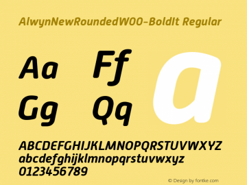 AlwynNewRoundedW00-BoldIt Regular Version 1.00 Font Sample