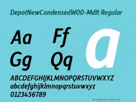 DepotNewCondensedW00-MdIt Regular Version 2.00 Font Sample