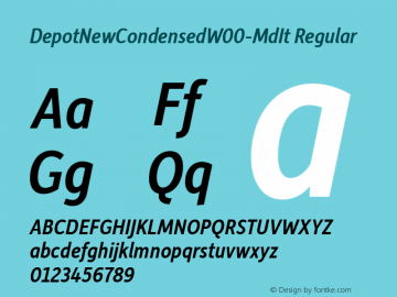 DepotNewCondensedW00-MdIt Regular Version 2.00 Font Sample