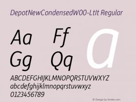 DepotNewCondensedW00-LtIt Regular Version 2.00 Font Sample