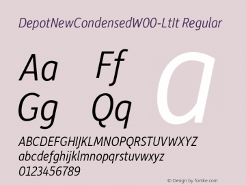 DepotNewCondensedW00-LtIt Regular Version 2.00 Font Sample