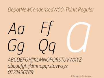 DepotNewCondensedW00-ThinIt Regular Version 2.00 Font Sample