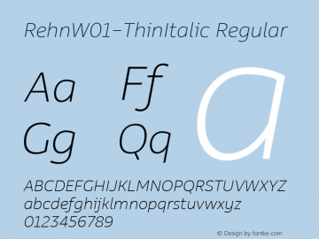 RehnW01-ThinItalic Regular Version 1.00 Font Sample