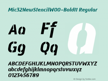 Mic32NewStencilW00-BoldIt Regular Version 2.00 Font Sample