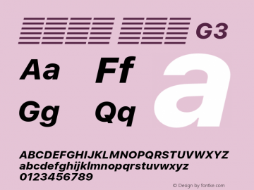 系统字体 粗斜体 G3 11.0d60e1 Font Sample