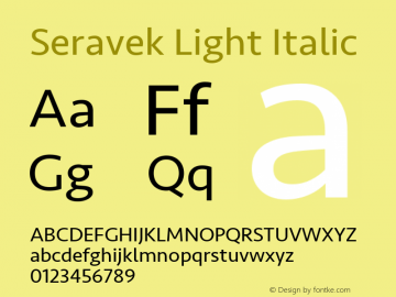 Seravek Light Italic 11.0d1e1 Font Sample