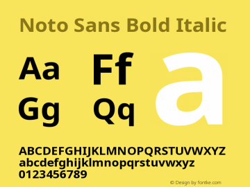 Noto Sans Bold Italic Version 1.05 uh Font Sample