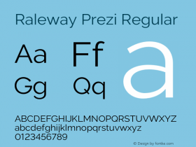 Raleway Prezi Regular Version 3.100;PS 003.100;hotconv 1.0.70;makeotf.lib2.5.58329图片样张