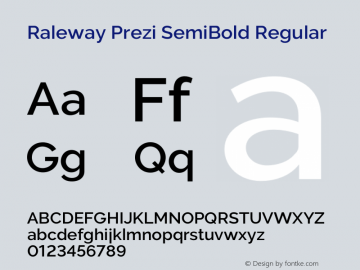 Raleway Prezi SemiBold Regular Version 3.100;PS 003.100;hotconv 1.0.70;makeotf.lib2.5.58329图片样张
