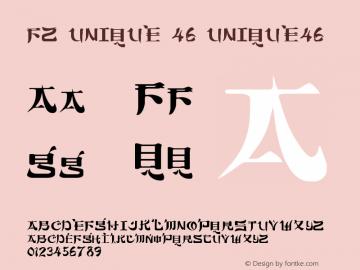 FZ UNIQUE 46 UNIQUE46 Version 1.000 Font Sample