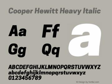 Cooper Hewitt Heavy Italic 1.000 Font Sample