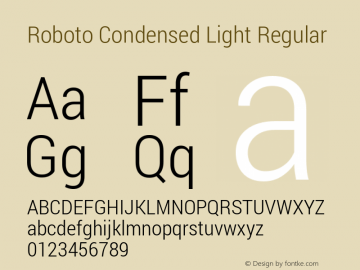 Roboto Condensed Light Regular Version 1.100141; 2013图片样张