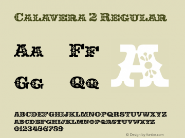 Calavera 2 Regular Version 1.000 Font Sample