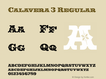 Calavera 3 Regular Version 1.000 Font Sample