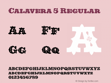 Calavera 5 Regular Version 1.000 Font Sample