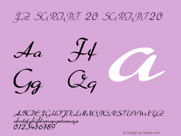 FZ SCRIPT 20 SCRIPT20 Version 1.000 Font Sample