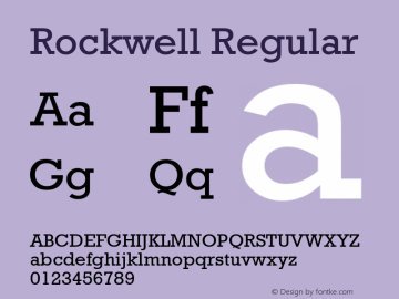Rockwell Regular Version 1.61 Font Sample