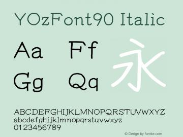 YOzFont90 Italic Version 13.11 Font Sample