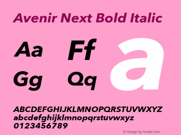 Avenir Next Bold Italic 8.0d2e1 Font Sample
