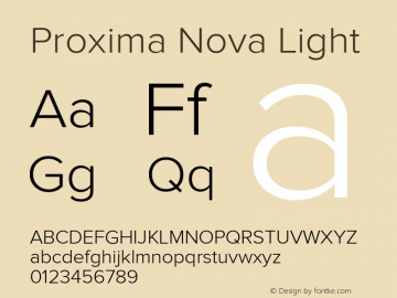 Proxima Nova Light Version 1.000;PS 001.000;hotconv 1.0.38 Font Sample