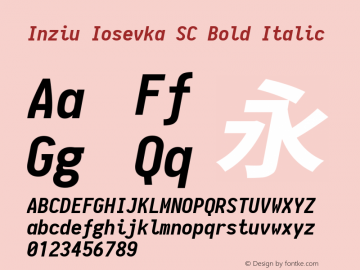 Inziu Iosevka SC Bold Italic Version 1.6.2 Font Sample