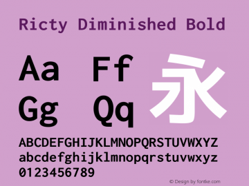 Ricty Diminished Bold Version 4.0.0图片样张